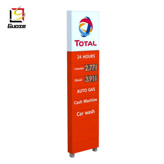 pylon billboard steel structure for petrol station canopies design
